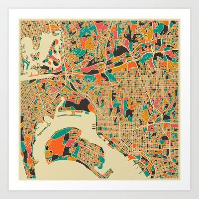 213 Best Art Images On Pinterest | Gift Ideas, Affordable Art And Regarding San Diego Map Wall Art (Image 3 of 20)