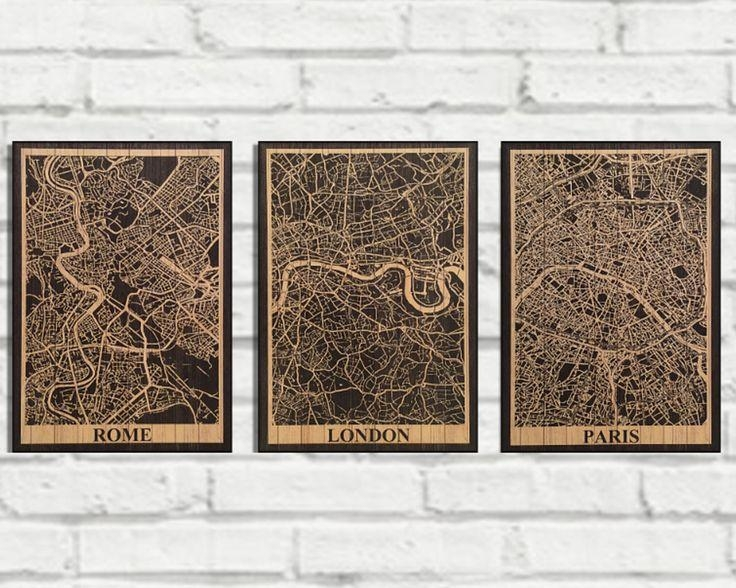 22 Best Wood Wall Art Flags & Map Art Images On Pinterest | Wood Within City Prints Map Wall Art (View 13 of 20)