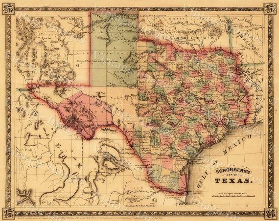 23 Best Texas Images On Pinterest | Antique Maps, Old Maps And With Texas Map Wall Art (Image 7 of 20)