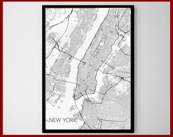 23 Best World Map Art Print Images On Pinterest   Maps Posters Pertaining To New York Map Wall Art (View 14 of 20)