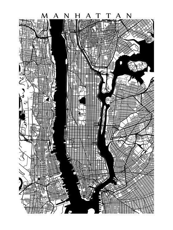 24 Best Ny Images On Pinterest   Map Of Manhattan, City Maps And Within New York Map Wall Art (View 17 of 20)