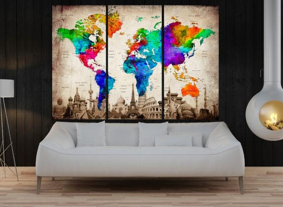 3 Panel Push Pin World Map Wall Art Canvas Framed Art Print Intended For Travel Map Wall Art (Image 3 of 20)