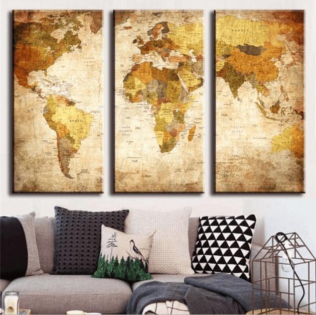 "3 Panel ""retro World Map"" Canvas Wall Art | Octotreasure With World Map Wall Art Canvas (View 15 of 20)"