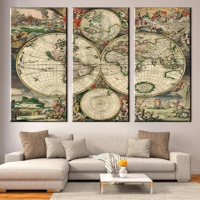 3 Pcs/set Retro Europe Old World Map Canvas Prints Painting For Europe Map Wall Art (View 19 of 20)