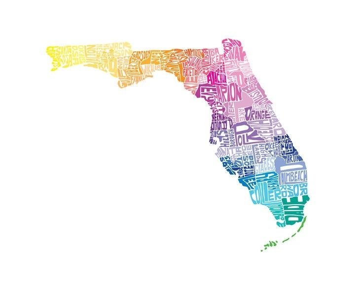 33 Best State Project Images On Pinterest | Map Art, Art Print And in Florida Map Wall Art
