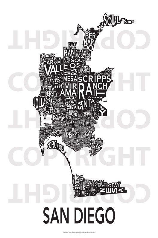 34 Best San Diego Maps Images On Pinterest | San Diego Map regarding San Diego Map Wall Art