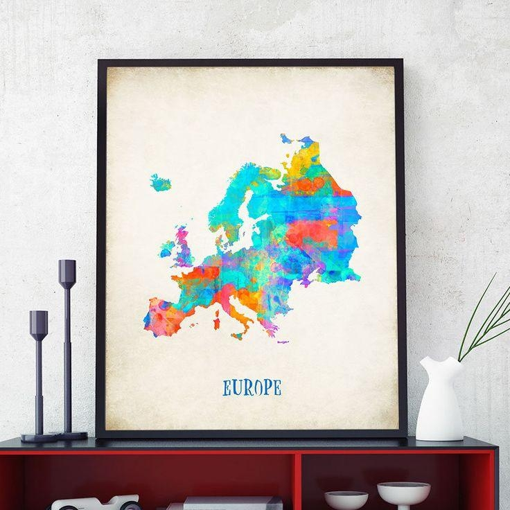 35 Best World Maps Images On Pinterest | Map Posters, United Within Europe Map Wall Art (View 14 of 20)