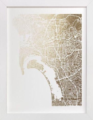36 Best Foil Pressed Maps Images On Pinterest | Baby Announcements Within San Diego Map Wall Art (Image 7 of 20)
