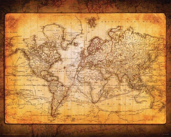 37 Eye Catching World Map Posters You Should Hang On Your Walls Intended For Vintage World Map Wall Art (Image 4 of 20)