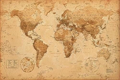 37 Eye Catching World Map Posters You Should Hang On Your Walls Regarding Vintage World Map Wall Art (Image 5 of 20)