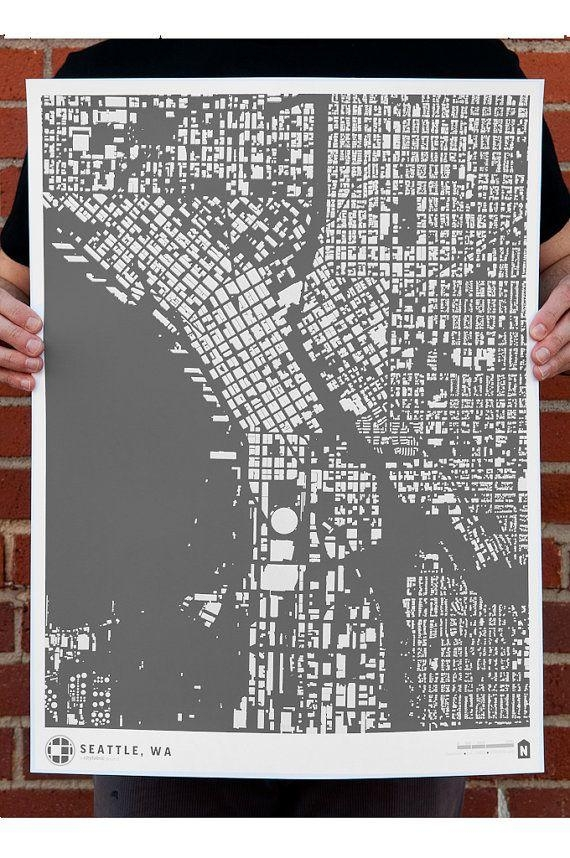 41 Best Cityfabric Civic Prints Images On Pinterest | Cards, Maps Regarding Seattle Map Wall Art (Image 1 of 20)