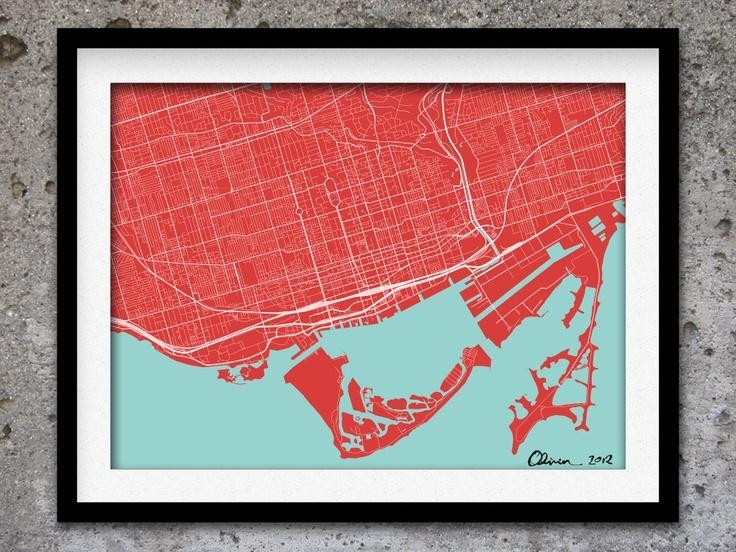 44 Best Map Wall Project Images On Pinterest | Bedrooms, Places To With Toronto Map Wall Art (Image 2 of 20)