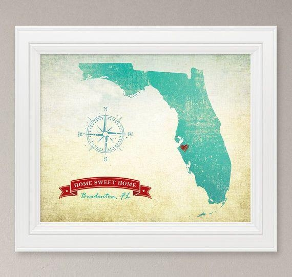 48 Best Our Bedroom Wall Images On Pinterest | Bedroom Wall Pertaining To Florida Map Wall Art (Image 3 of 20)