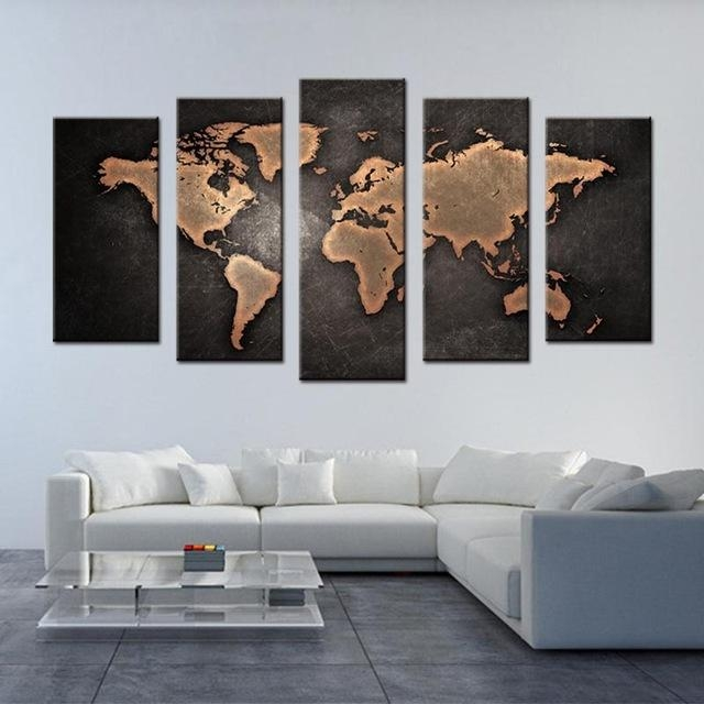 5 Pcs/set Framed Abstract Black World Map Wall Art Modern Global With Regard To World Map Wall Art Canvas (View 19 of 20)