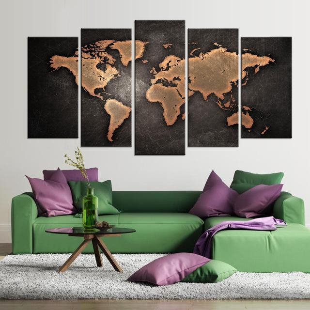 5 Pcs/set Modern Abstract World Map Wall Art Painting World Map For Abstract World Map Wall Art (Image 1 of 20)