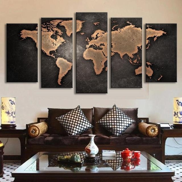 5 Pcs/set Vintage Abstract Wall Art Painting World Map Print On Pertaining To World Map Wall Art Canvas (Image 5 of 20)