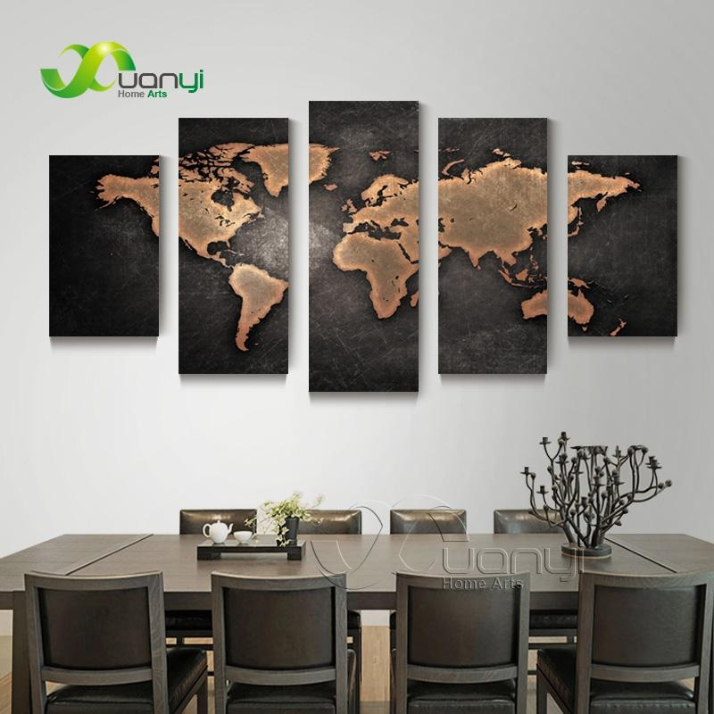 5 Piece Wall Art World Map Canvas Abstract Oil Painting Artwork Inside Map Wall Artwork (Image 6 of 20)
