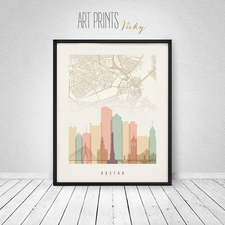 58 Best Skylines With City Maps Images On Pinterest | City Maps intended for Boston Map Wall Art