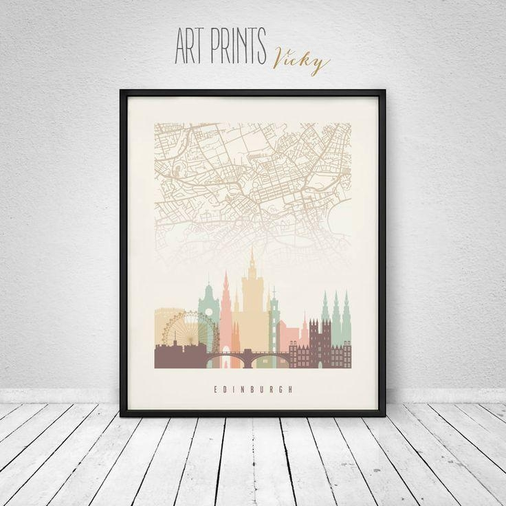 58 Best Skylines With City Maps Images On Pinterest | City Maps Intended For City Prints Map Wall Art (Image 5 of 20)