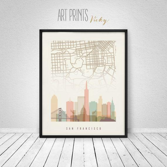 58 Best Skylines With City Maps Images On Pinterest | City Maps intended for San Francisco Map Wall Art