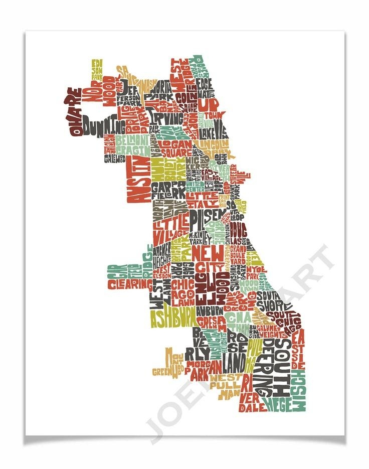 59 Best Chicago Neighborhoods Images On Pinterest | Chicago Throughout Chicago Neighborhood Map Wall Art (Image 1 of 20)
