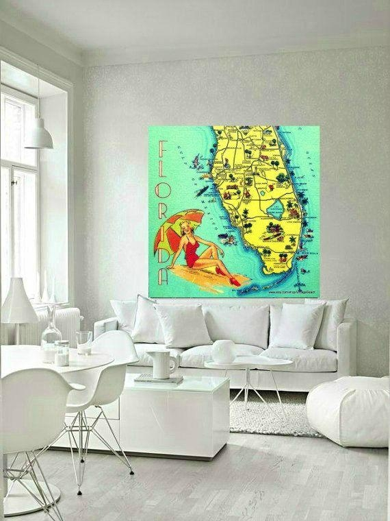 67 Best Vintage Beach Maps Images On Pinterest | Map Art, Vintage Within Florida Map Wall Art (Photo 15 of 20)
