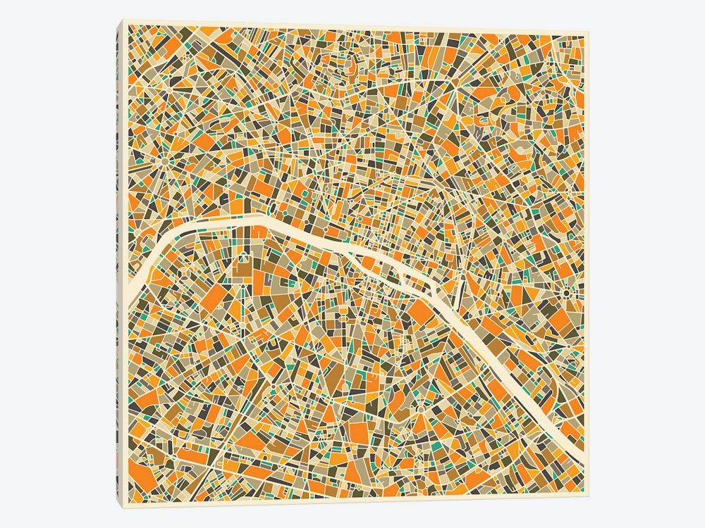 Abstract City Map Of Paris Canvas Wall Artjazzberry Blue | Icanvas With Paris Map Wall Art (Image 4 of 20)