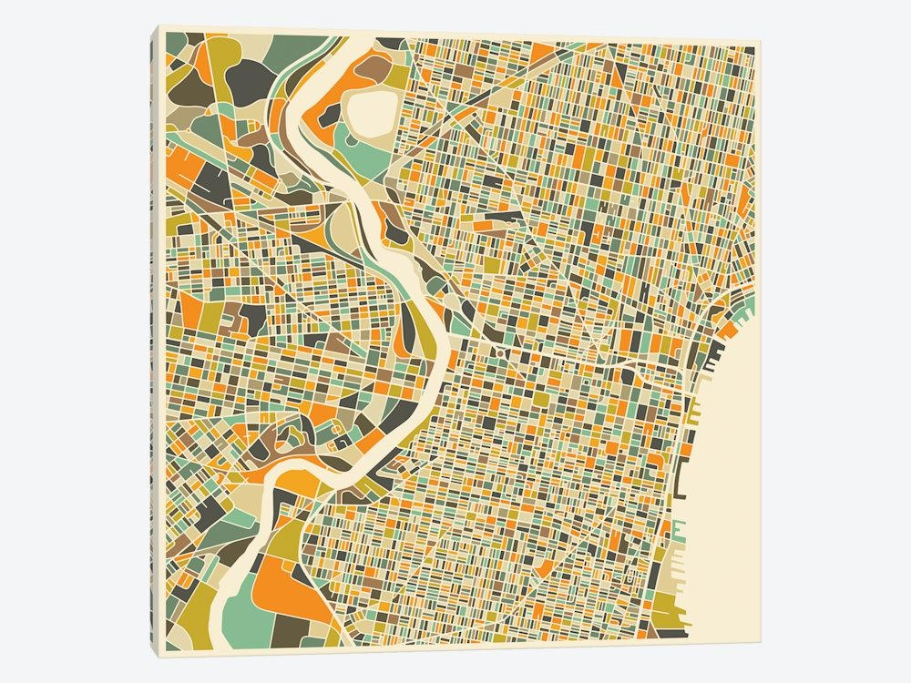 Abstract City Map Of Philadelphia Canvas Art  | Jazzberry Blue With Philadelphia Map Wall Art (Image 3 of 20)