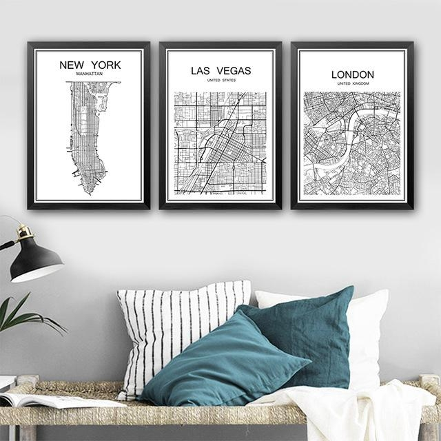 Abstract City Map Poster Vintage Painting Kraft Poster Antique Within City Map Wall Art (View 2 of 20)