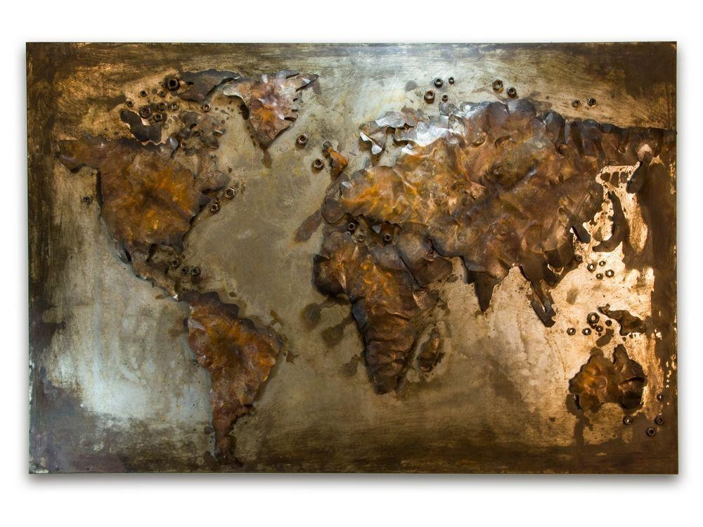 Abstract Metal World Map | Rusty World Wall Hanging Within Abstract World Map Wall Art (Image 3 of 20)