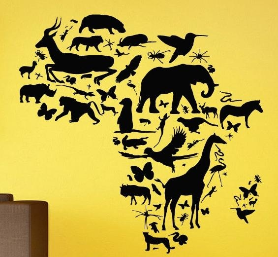 African Animal Map Wall Decal Africa Map Continent Animal Wall Art With Africa Map Wall Art (Image 5 of 20)