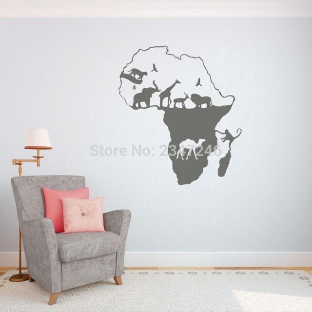 African Animal Map Wall Decal Continent Animal Wall Art Sticker Regarding Africa Map Wall Art (Image 6 of 20)
