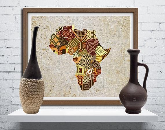 African Map Art African Print Map Decor African Wall Art Inside Africa Map Wall Art (Image 7 of 20)
