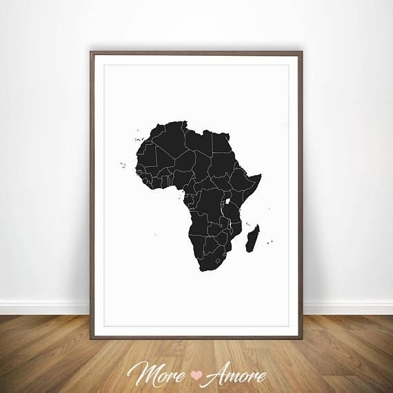 African Print Africa Map African Art Print Map Of Africa Intended For Africa Map Wall Art (Image 9 of 20)