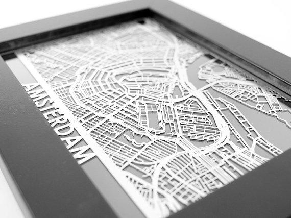 Amsterdam City Map Cut Maps Amsterdam Street Map Laser Pertaining To Street Map Wall Art (Image 11 of 20)