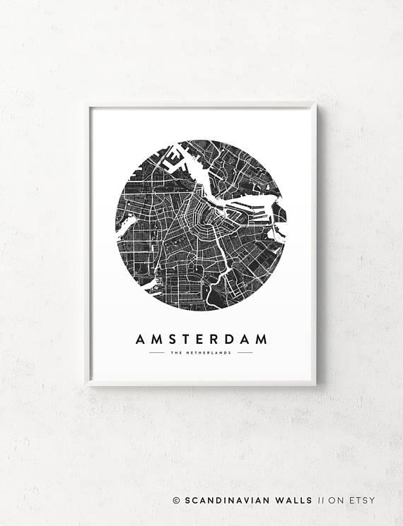 Amsterdam Print Amsterdam Map Amsterdam Poster Amsterdam For City Prints Map Wall Art (View 5 of 20)
