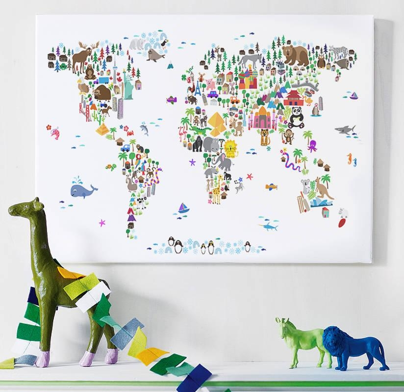 Animal World Map Printartpause | Notonthehighstreet Pertaining To World Map Wall Art For Kids (Image 2 of 20)