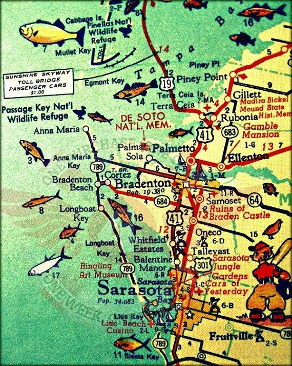 Anna Maria Key Map Art Sarasota Florida Map Art Siesta Key With Regard To Florida Map Wall Art (Image 5 of 20)
