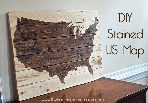 Another} Diy Stained Wood Map | The Happier Homemaker Intended For Wood Map Wall Art (Image 2 of 20)