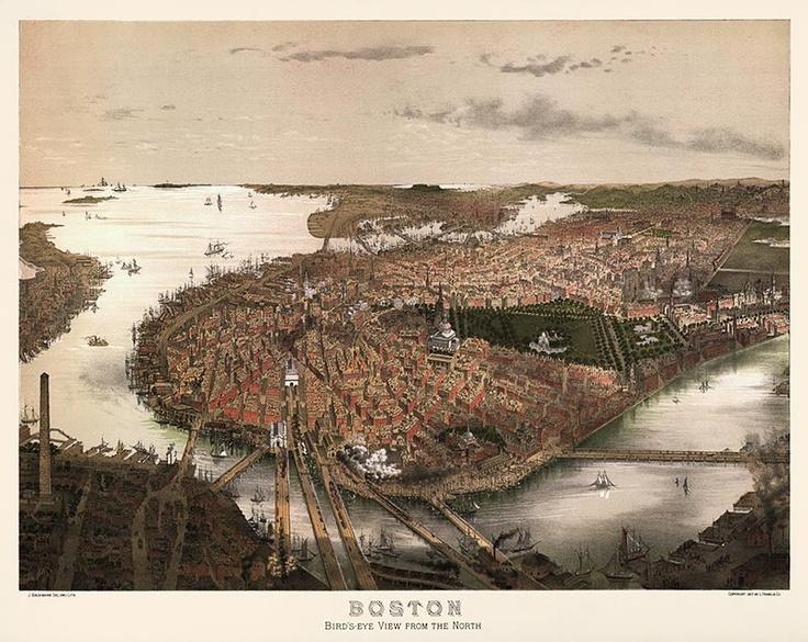 Antique Bird's Eye View Map Of Boston From C1877 | Vintage Boston Inside Boston Map Wall Art (View 6 of 20)