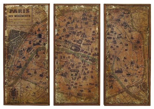 Antique Finish Old World Map Of Paris Brown 3 Panel Wall Art Home Regarding Vintage World Map Wall Art (Image 6 of 20)