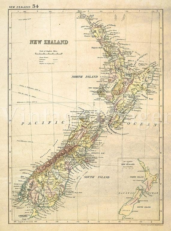 Antique New Zealand Map 1881 Old Map Of New Zealand. Vintage For New Zealand Map Wall Art (Photo 17 of 20)
