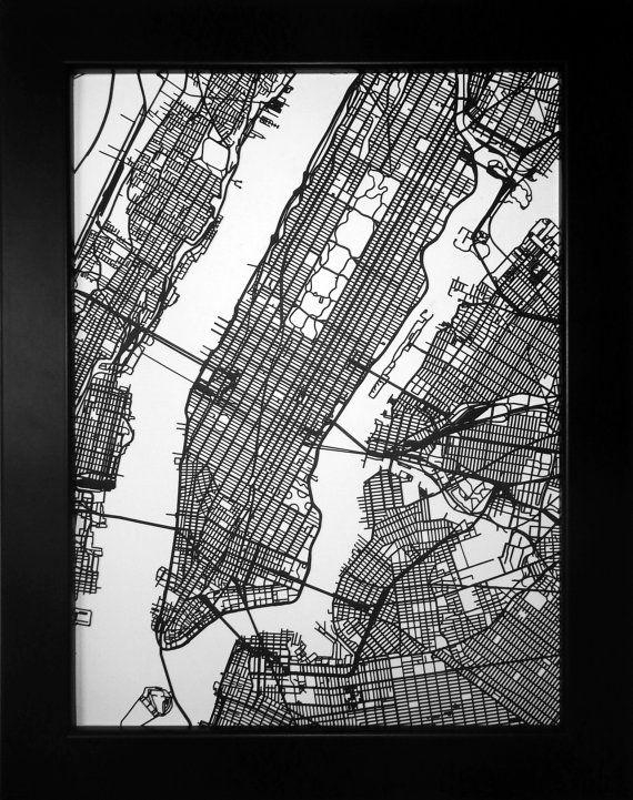 Any City In The World! Choose Your City! Custom Laser Cut Street With Regard To Nyc Map Wall Art (View 19 of 20)