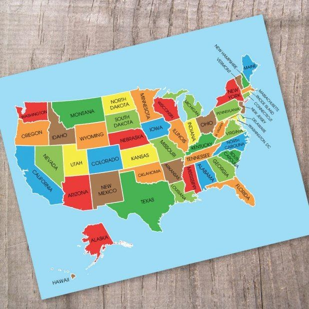 Awesome Wall Design Us Map Wall Art Inspirations Wooden United Pertaining To State Map Wall Art (Image 1 of 20)