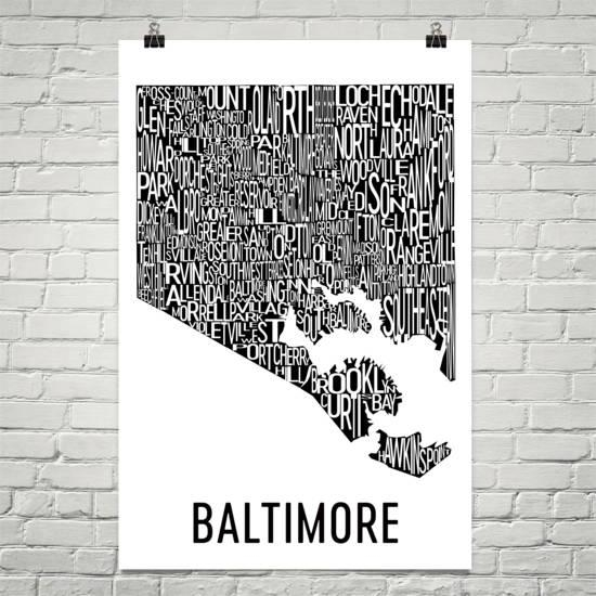 Baltimore Typography Neighborhood Map Art City Print Intended For City Prints Map Wall Art (Image 9 of 20)