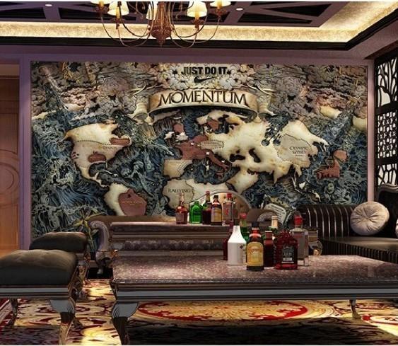 Beibehang Custom 3D Photo Wall Paper Nautical Maps Den Tv Sofa Throughout Nautical Map Wall Art (View 17 of 20)