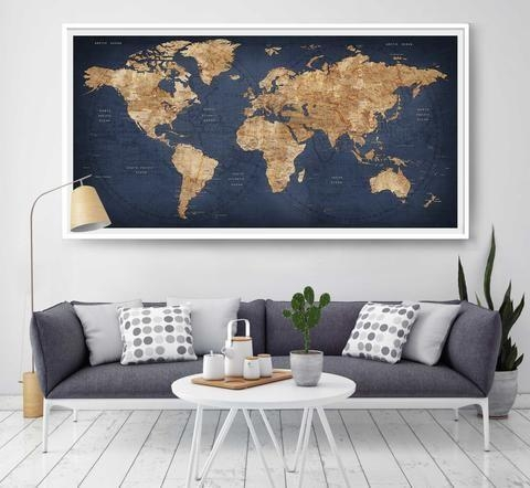 Best 25 Map Wall Decor Ideas On Pinterest Travel Decorations Large In Large Map Wall Art (Image 1 of 20)