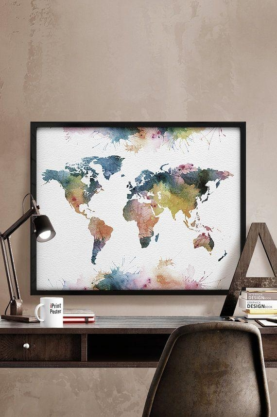 Best 25+ World Map Bedroom Ideas On Pinterest | Map Bedroom Regarding World Map Wall Art Print (Image 2 of 20)