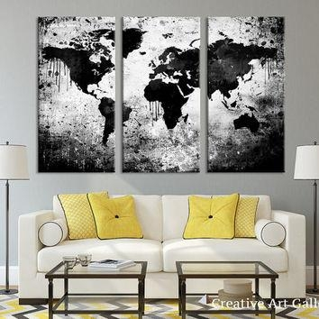 Best White World Map Wall Art Products On Wanelo Regarding Canvas Map Wall Art (View 18 of 20)