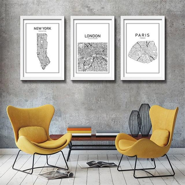 Black White Art Map World City Canvas Art Painting Poster, New Pertaining To Nyc Map Wall Art (View 20 of 20)